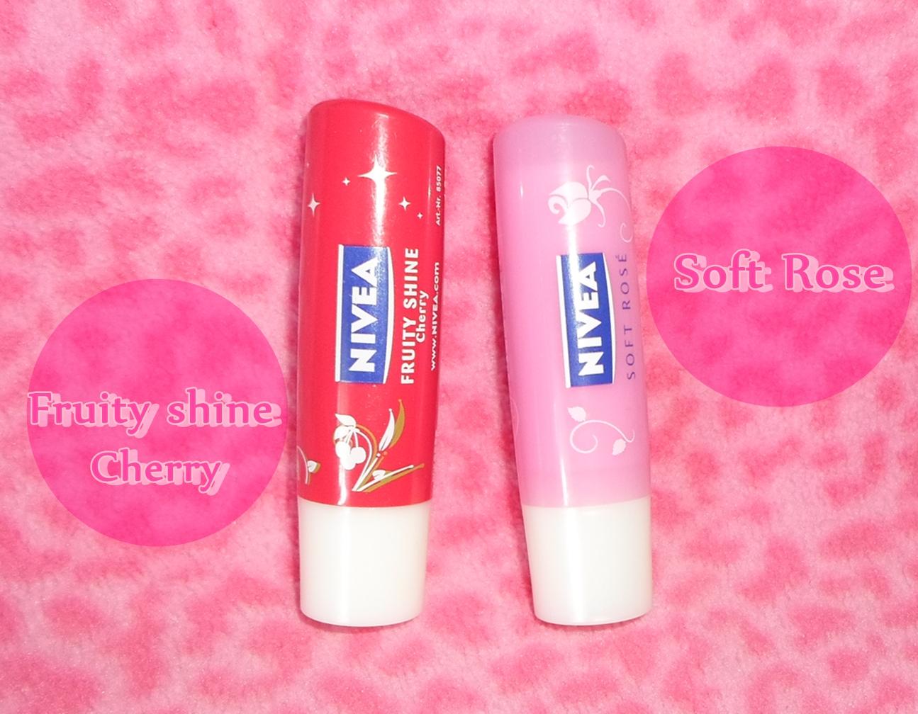 Nivea Battle Fruity Shine Vs Soft Rose Cat Eyes Red Lips Lip Balm 48g Image