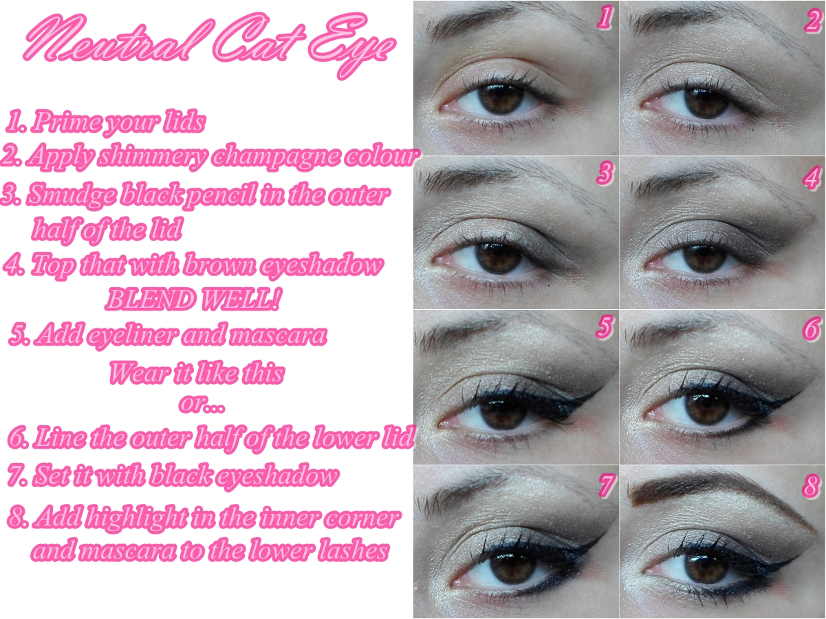 Simple Neutral Cat Eye Makeup Tutorial Step By Step Cat Eyes Red Lips