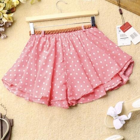 polkadot pink pant skirt